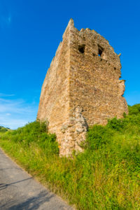 Castle ruin Lewenstein near Niedermoschel, North Palatinate highlands, also called Lehinberg, Lemberg or Lewenburg, you can see the remains of the palace, former county of Veldenz,