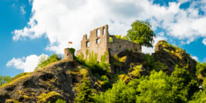 Falkenstein Castle in the town of the same name in the Palatinate in Donnersberg district, Rhineland-Palatinate, Germany,