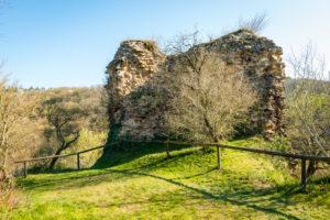 Turmrest auf der Südseite von Burg Sponheim, im Soonwald (Hunsrück), liegt auf einem Bergkamm, aussen mit Buckelquadern, gegründet von Grafen von Sponheim, Hildegard von Bingen, Jutta von Sponheim, Spornburg,
