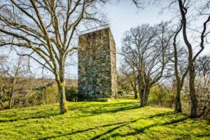 Residential tower of Burg Sponheim, in the Soonwald (Hunsrück), lies on a ridge, outside with hump blocks, founded by Counts von Sponheim, Hildegard von Bingen, Jutta von Sponheim, Spornburg,