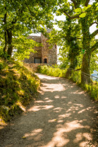 Rosselburg über Rüdesheim am Rhein, Burg Niederwald,  künstliche Ruine, Lustschloss, Rossel, Unesco Welterbe oberes Mittelrheintal, Landschaftspark Niederwald