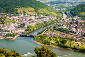 Rossel-Blick auf Bingen-Bingerbrück, Nahemündung und Drususbrücke, Rhein-Nahe-Eck