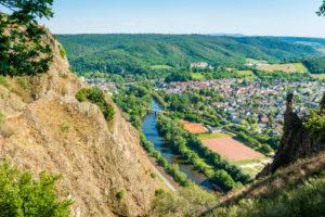 Bad Münster am Stein-Ebernburg,  vom Rotenfels gesehen, der größte Steilwand nördlich der Alpen, Kreis Bad Kreuznach,