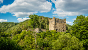 Castle ruins Balduinseck in the Hunsrück near Kastellaun, built by Archbishop Balduin as a stronghold against the Count of Sponheim, hilltop castle on a rock spur with a neck ditch, high-resolution panorama,