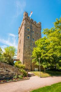 Burg Klopp bei Bingen am Rhein, von Weinbergen umgeben, Höhenburg mit gut erhaltener historischer neugotischer Architektur,  Unesco-Welterbe Oberes Mitelrheintal,