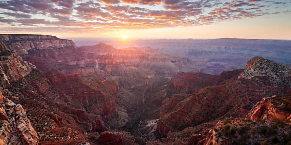 USA, America, Grand Canyon, light, back light, sun, red, warm, view, deep, vastness, panorama, landscape, North Rim,