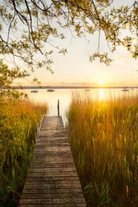 Germany, Bavaria, Lake Ammersee, Breitbrunn, jetty,