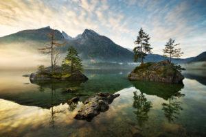 Lake Hintersee, mountain, lake, Alps, water, morning, atmosphere, islands, trees, autumn, Berchtesgaden,