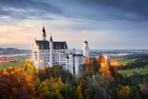 Schloss Neuschwanstein, Füssen, Schwangau, Herbst, Stimmung, Traum, Abend,