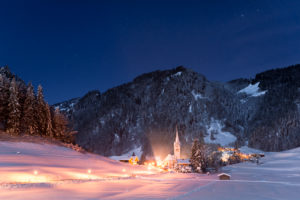 Germany, Bavaria, Tiefenbach, Alps, mountains, Allgäu, sky, stars, church, village, fairy tale, valley, lights, Christmas, winter, snow, wood, trees, steeple, light, mood, way, panorama, night, dark, romantical, scenery