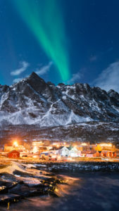 Norway, island, Senja, Rodsand, Arctic, idyllic, aurora borealis, northern lights, Aurora, Borealis, village,
