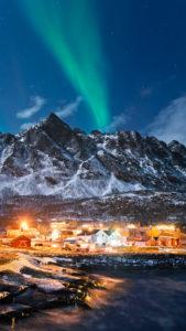 Norwegen, Insel, Senja, Rodsand, Arktisch, Idylle, Nordlicht, Polarlicht, Aurora, Borealis, Dorf,