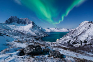 Norway, Senja, island, northern lights, aurora borealis, Aurora, Borealis, view, vastness, snow, winter, mountains, fjord, bay, summit, sky, stars, moon, night, blue, rocks, stones, heart, heavenly, mystical, scenery, ultimate, love
