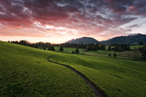 Dramatic sunrise in the Allgäu region, Bavaria, Germany