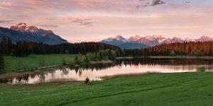 Hegratsrieder See (lake), Allgäu region, Ammergau Alps, Bavaria, Germany