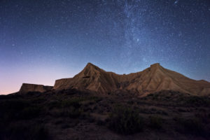 Night sky with Milky Way in the desert Bardena Reales, Navarra, Spain
