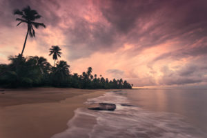 Caribbean dream beach in sunset, Punta Vacia, Puerto Rico, Caribbean island,
