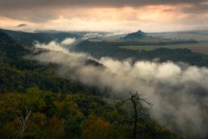 Nebel über der Elbe in der Sächsischen Schweiz zu malerischem Sonnenaufgang, Deutschland