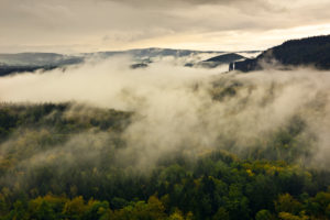 View with fog near the Schrammsteine (group of rocks), Saxon Switzerland, Saxony, Germany