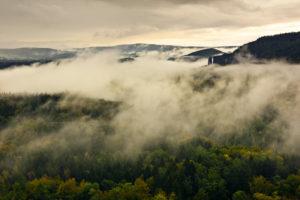 View with fog near the Schrammsteine (group of rocks), Saxon Switzerland, Saxony, Germany