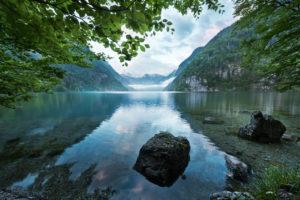 Lake Koenigssee in Berchtesgadener Land (district), Bavaria, Germany