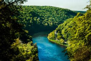 Blick auf das Donautal, Weltenburger Enge, Landkreis Kelheim, Bayern, Deutschland,
