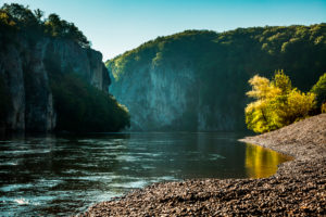 The Danube Gorge Weltenburger Enge at Weltenburg Monastery shortly after sunrise, Kelheim district, Bavaria, Germany