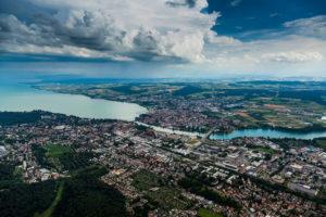 Blick auf Konstanz am Bodensee, Konstanz, Baden-Württemberg, Deutschland, Europa