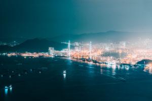 Asia, China, Hong Kong, Tsing Yi, Stonecutters Island, Stonecutters Bridge, harbor, container terminal