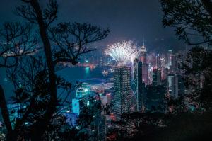 Asia, China, Hong Kong, Victoria Peak, Hong Kong Island, fireworks