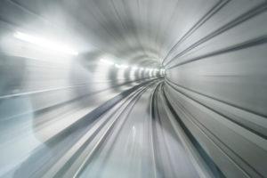 Futuristic underground tunnel