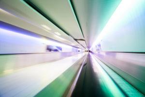 Futuristic tunnel in motion
