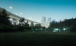 Asia, China, Shanghai, bridge at night