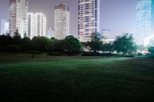 Asien, China, Shanghai, Parklandschaft bei Nacht mit Wolkenkratzern