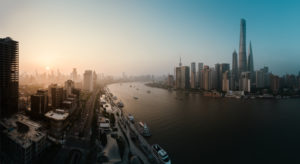 Asia, China, Shanghai, Pudong, Huangpu River, The Bund, sunset, skyline with Shanghai Tower