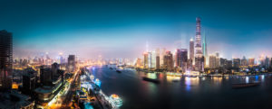 Asia, China, Shanghai, Pudong, panorama, sunset, blue hour, night shot, Huangpu River,