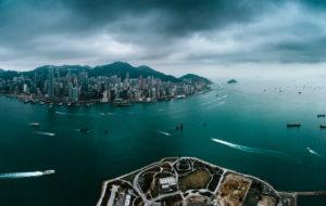 Asia, China, Hong Kong, Hong Kong Island, Victoria Harbor, Victoria Peak, panoramic view