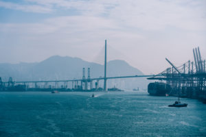 Asia, China, Hong Kong, Hong Kong Island, Victoria Harbor, Stonecutters Bridge, harbor scenery in the container terminal,