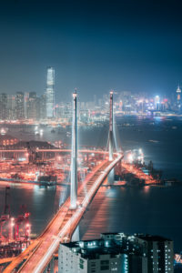 Asia, China, Hong Kong, Hong Kong Island, Victoria Harbor, Stonecutters Bridge, ICC,