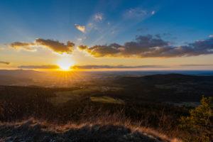 Sonnenuntergang, Albtrauf, Burgfelden, Albstadt, Schwäbische Alb, Baden-Württemberg, Deutschland, Europa