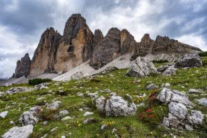 Three Peaks, Tre Cime Di Lavaredo, sunrise, Dolomites, South Tyrol, Italy, Europe