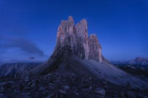 Patern saddle, Three Peaks, Tre Cime di Lavaredo, blue hour, Dolomites, South Tyrol, Italy, Europe