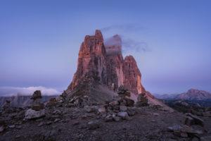 Patern saddle, Three Peaks, Tre Cime Di Lavaredo, Sunrise, Dolomites, South Tyrol, Italy, Europe