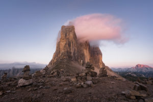 Patern saddle, Three Peaks, Tre Cime Di Lavaredo, Sunrise, Dolomites, South Tyrol, Italy, Europe