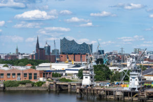 Port of Hamburg with Elbphilharmonie in the background, Germany, Europe