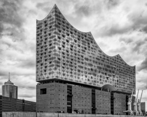 Elbphilharmonie, Elphi, Hamburg Germany, Architecture, Norderelbe-Ansicht, Black / White