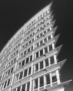 Building, re top, Hamburg, Germany, architecture, low-key, black and white,