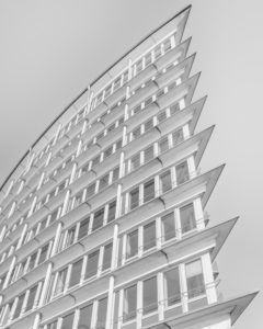 Building, top again, Hamburg, Germany, architecture, high-key, black and white