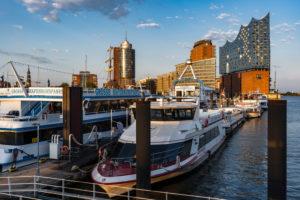 Harbor, Niederhafen, Hamburg with Elbphilharmonie, Elphi, Germany