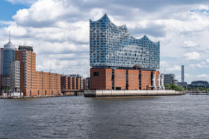 View of Elbphilharmonie and Speicherstadt Hamburg, view from the Theater im Hafen, Germany, Europe